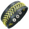 Fűzött fekete csuklópánt - sárga fonalak