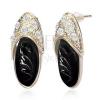 Bedugós ovális fülbevaló - arany és fekete papucska