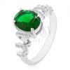 Eljegyzési ródiumozott gyűrű, 925 ezüst, zöld ovális cirkónia, csillogó spirál