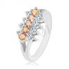 Csillogó gyűrű átlátszó és világos narancssárga cirkóniás vonalból