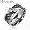 Titánium gyűrű, fekete - ezüst szín, cirkóniaköves átlós vonal