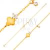 585 arany karkötő - lepke csillogó virággal és függő, átlátszó cirkónia