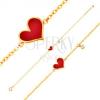 Karkötő 14K sárga aranyból - piros aszimmetrikus szív és átlátszó cirkónia, lánc