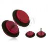 Piros fake plug fülbe, fényes, akryl kerekek