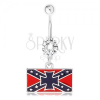 Acél piercing köldökbe, átlátszó cirkónia, déli zászló, máltai kereszt
