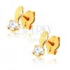 Fényes fülbevaló 9K sárga aranyból - ovális és átlátszó kő