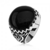 Gyűrű 925 ezüstből, fekete díszítés, cikk cakk minta és ornamentumok