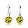 925 ezüst fülbevaló, lapos medál - sárga nevető smiley
