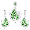 925 ezüst szett, fülbevaló és medál, levél - átlátszó és zöld cirkóniák