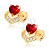 Fülbevaló 14K sárga aranyból - szívecskés piros gránát, csillogó szív körvonal