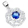 Ródiumozott medál 925 ezüstből, napocska - kék cirkónia, kettős átlátszó szegély