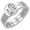 Kettős acél gyűrű - férfi és női szimbólum