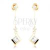 Fülbevaló 14K sárga aranyból - átlátszó cirkóniák, vékony pálcika csillogó négyzettel