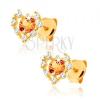 Fülbevaló 9K sárga aranyból - átlátszó cirkóniás szív körvonal, sárga citrin
