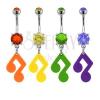 Köldökpiercing - hangjegy cirkóniával különböző színekben
