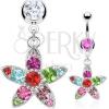 Piercing köldökbe - színes cirkónia virág