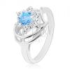 Fénylő gyűrű ezüst színben, kör alakú kék - átlátszó cirkóniák
