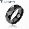 Fekete karikagyűrű Wolfrámból csiszolt felülettel, 8 mm