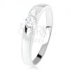 Gyűrű 925 ezüstből, kerek átlátszó cirkónia, szatén felszín fényes dísszel