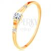 585 arany gyűrű - három négyzet cirkónia, fényes és sima szárak