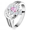 Csillogó gyűrű, osztott szárak, rózsaszín-átlátszó cirkóniás virág, ívek