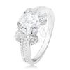 925 ezüst eljegyzési gyűrű, kerek átlátszó cirkónia, csillogó szárak