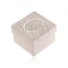 Ezüst színű dobozka gyűrűre, fülbevalóra vagy medálra, fényes felirat