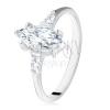 925 ezüst eljegyzési gyűrű, magszem és trapéz alakú kövek