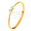 585 arany gyűrű - vékony fényes szárak, két csillogó cirkónia