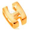 Fényes medál 14K sárga aranyból, nagy nyomtatott H betű, sima felület