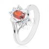 Ezüst színű gyűrű, piros cirkónia, átlátszó cirkóniák, fényes ívek
