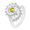 Gyűrű ezüst árnyalatban, sárgászöld kerek cirkónia csillogó spirálban