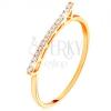 14K sárga arany gyűrű - kiemelkedő csillogó hullám cirkóniákkal