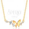 585 arany nyakék - vékony nyaklánc, pillangó és ív átlátszó cirkóniákból