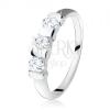 925 ezüst eljegyzési gyűrű, három, átlátszó cirkónia, sávokkal elválasztva