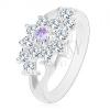 Fényes szárú gyűrű, átlátszó virág lila középpen cirkóniákból