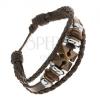 Szintetikus bőr multikarkötő, acél és fa gyöngyök, kereszt
