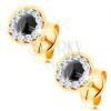 Fülbevaló 14K sárga aranyból - kerek zafír, átlátszó Swarovski kristályok