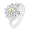 Gyűrű ezüst színben, nagy cirkóniás átlátszó virág, sárga közép