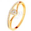 585 arany gyűrű - osztott, hajlított szárak, átlátszó cirkóniás csepp