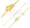 14K sárga arany karkötő - fénylő korona és átlátszó cirkóniás virág, 180 mm karkötő