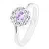 Ezüst színű gyűrű, cirkóniás virág világoslila középpel