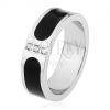 Acél gyűrű, ezüst szín, fekete, fénymázas sáv, három, átlátszó cirkónia