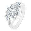 Ezüst árnyalatú gyűrű, osztott szárak, átlátszó cirkóniás virág