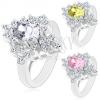 Ezüst színű gyűrű, fénylő cirkóniák csiszolt felülettel