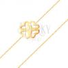 585 sárga arany karkötő - vékony lánc, kivágott négylevelű lóhere