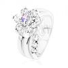 Csillogó gyűrű, ívelt szár, cirkóniás virág világoslila és átlátszó színben