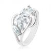 Csillogó gyűrű, átlátszó cirkóniás vonal, szétválasztott szárak
