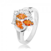 Gyűrű ezüst színben, átlátszó és narancssárga cirkóniák, fényes ívek