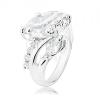 Gyűrű ezüst árnyalatban, kerek és szem alakú átlátszó cirkóniás vonal